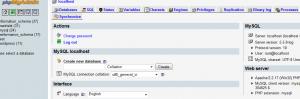 admin screen phpmyadmin